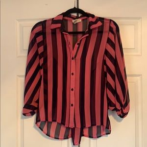 Striped Pink & Navy Blouse Top